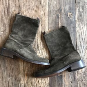 J Crew Moss Green Suede Boots size 6